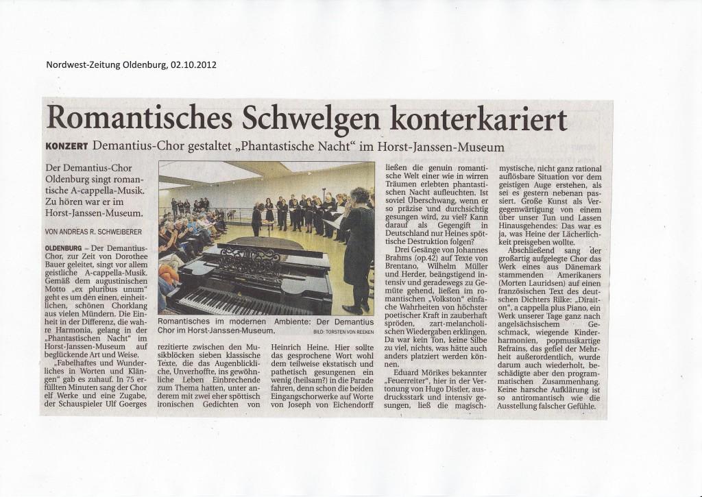 Kritik zum Konzert am 30.09.2012 im Horst-Janssen-Musem, Oldenburg